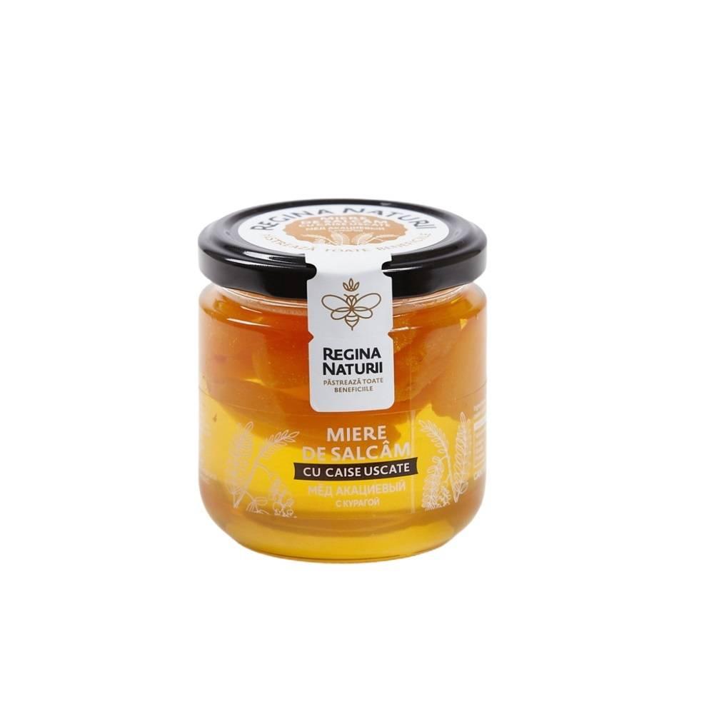 Miere naturala de salcim cu caise uscate, 250g