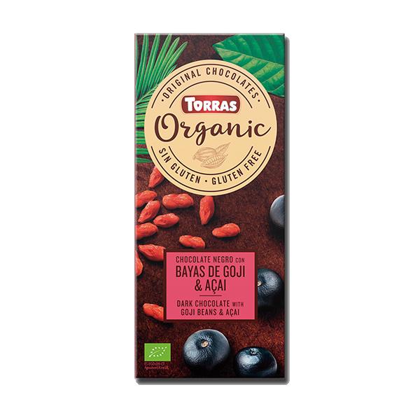 Ciocolată neagră Torras Organic Bio cu fructe goji și acai 100g