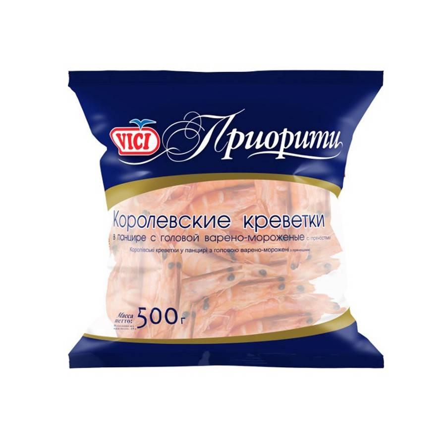 Креветки королевские неочищенные (30/40) VICI Priority, 0,5 кг