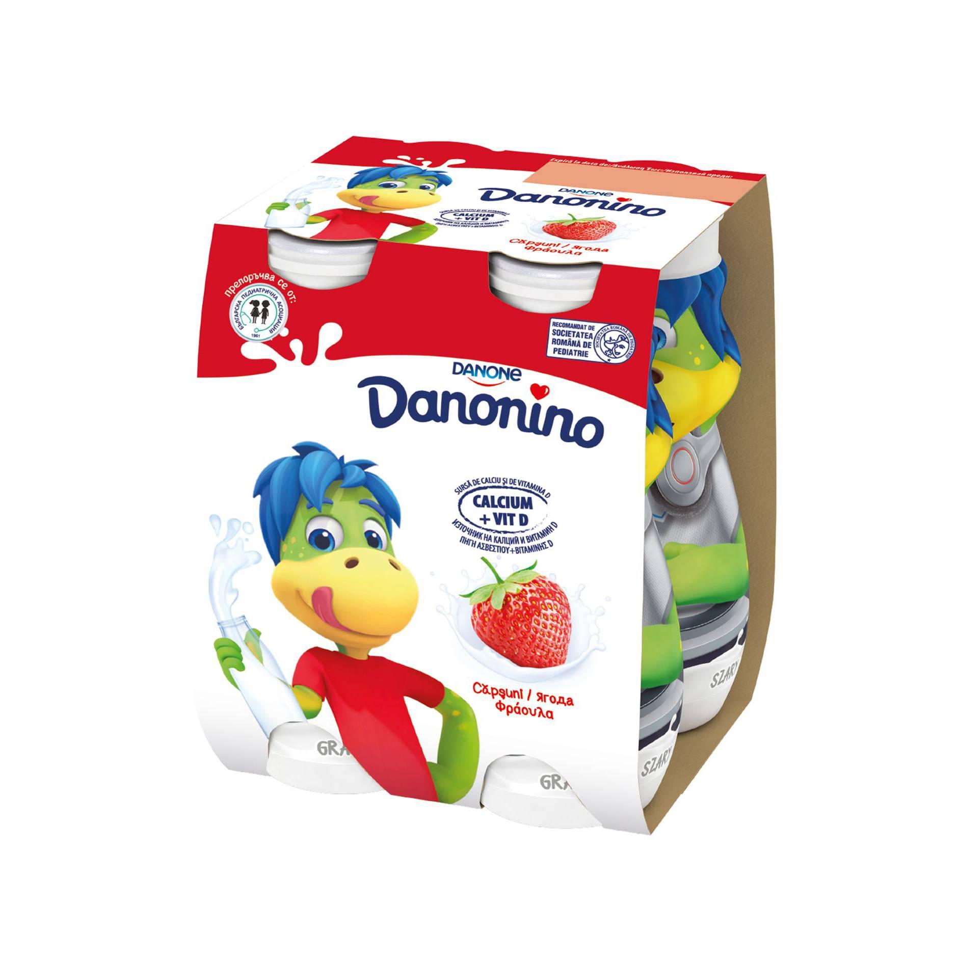 Iaurt de baut Danonino capsuna 3,5% 4*100g