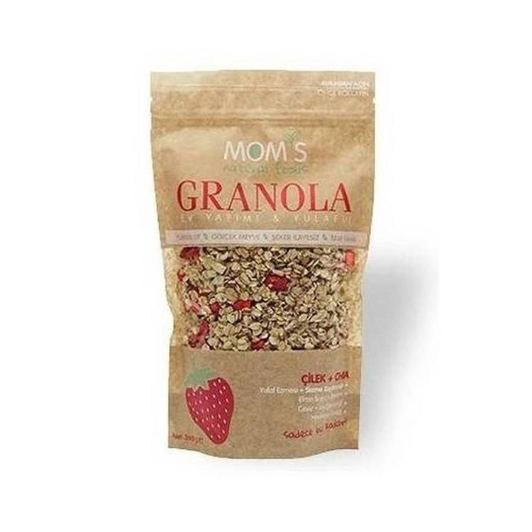 Granola cu capsuna si seminte Chia Mom's, 360g