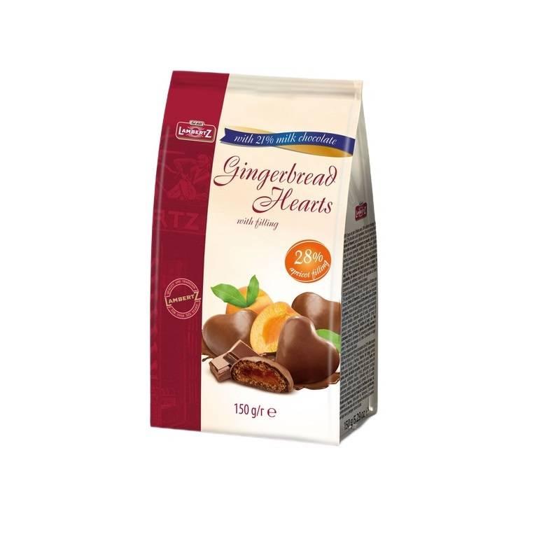 Inimi din turtă de ghimbir cu umplutură cu caise în ciocolată Henry Lambertz 150g