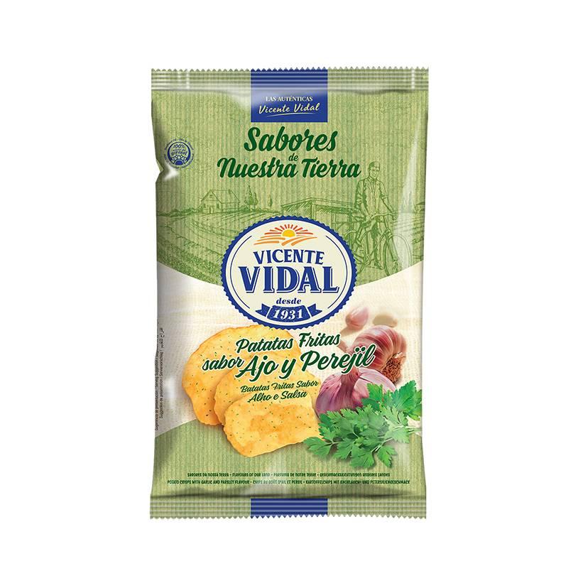 VICENTE VIDAL картофельные чипсы со вкусом чеснока и петрушки 135gr