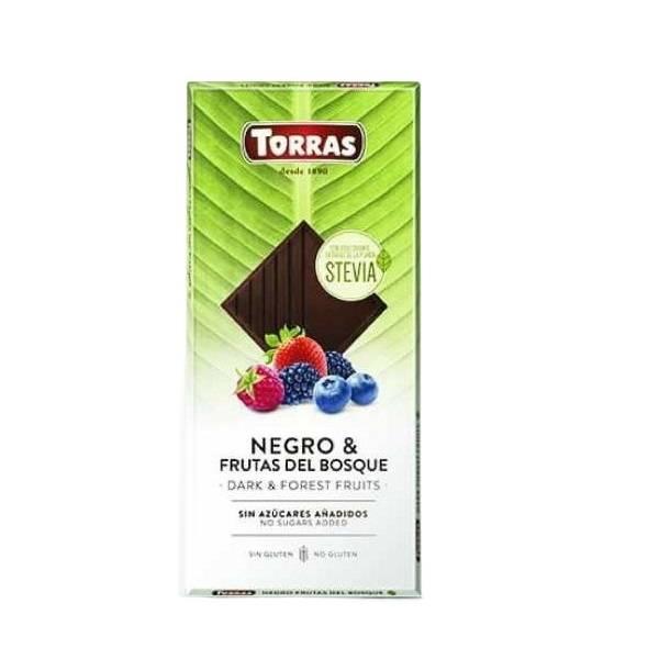 Темный шоколад со стевией и ягодами 125 гр