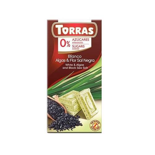 Ciocolata albă Torras cu alge și sare de mare, 75 g