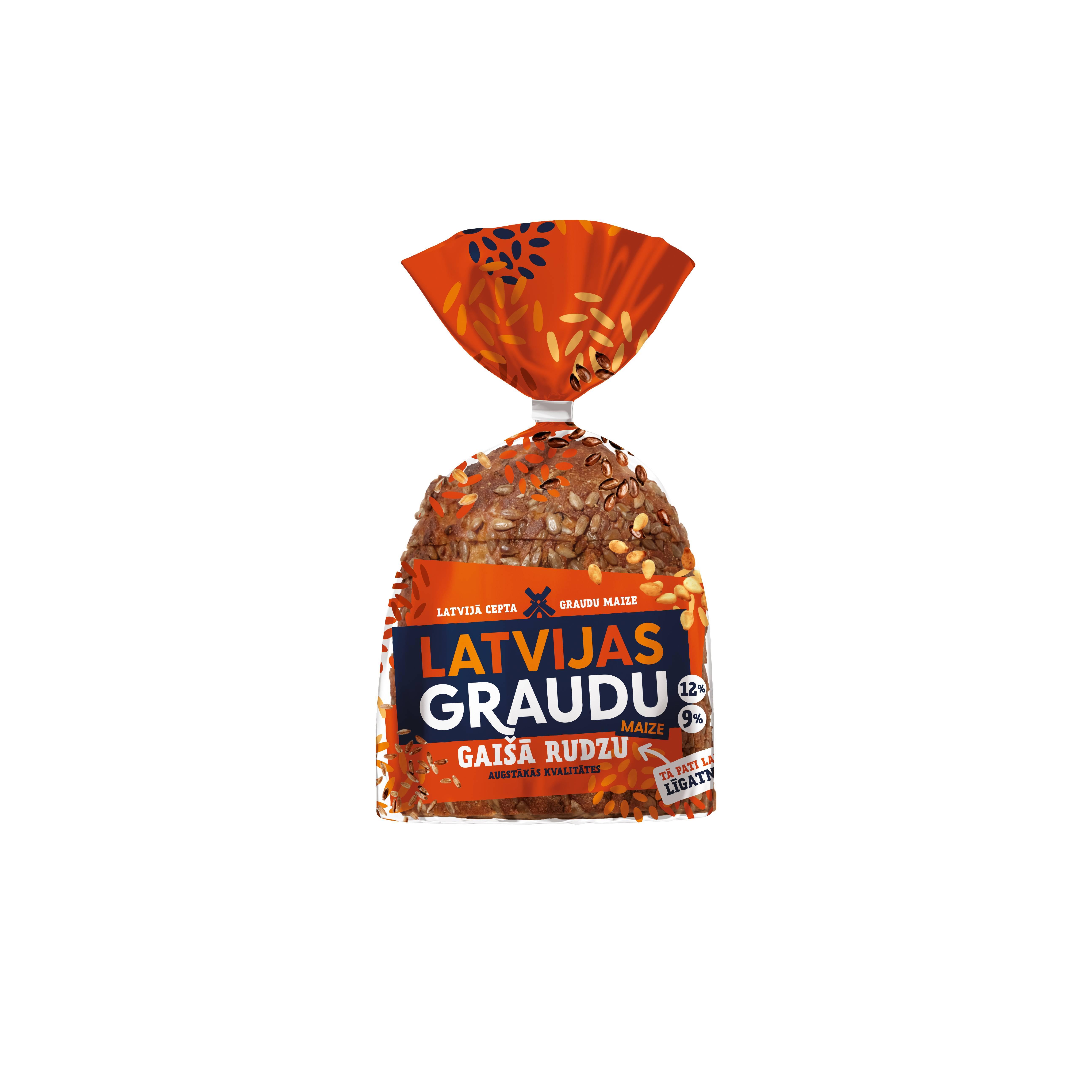 Piine cu cereale Latvijas Graudu, cu seminte de floarea-soarelui, 390g